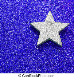 stella blu, grande, luminoso, fondo, argento