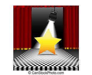 stella, copyspace, pavimento, discoteca, scacchiera, riflettore