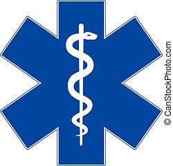 stella, emergenza, isolato, simbolo, medicina, bianco, vita