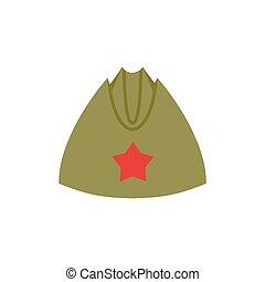 stella, esercito, vendemmia, berretto, forage-cap, soldiers., retro, russo, militare