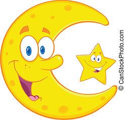 stella, felice, falce di luna