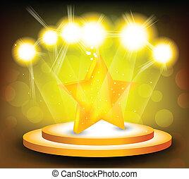 stella, fondo, palcoscenico