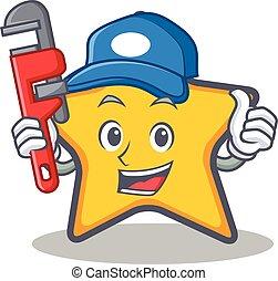 stella, idraulico, carattere, stile, cartone animato