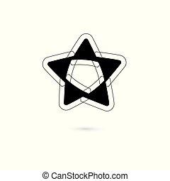stella, isolato, vettore, fondo, logotipo, bianco, icona