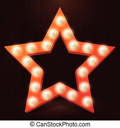 stella, luce, illustrazione, vettore, retro, bulbo, rosso