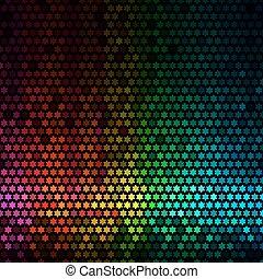 stella, luci, astratto, discoteca, fondo., multicolor, vettore, pixel, mosaico