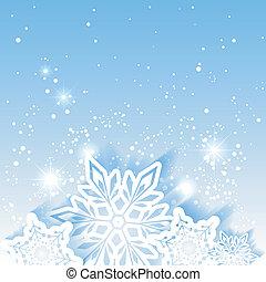 stella, natale, fondo, fiocco di neve