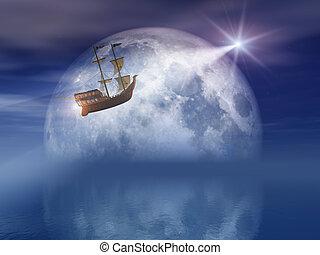 stella, navigazione, luce, sopra, mare luna, notte