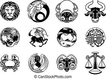 stella, oroscopo, segni, zodiaco, set, astrologia, icona