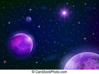 stella, pianeti, fondo, spazio