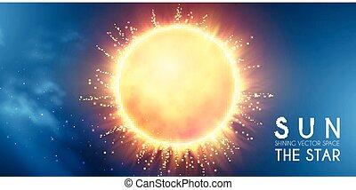 stella, scienza, supernova., fondo., sole, universe., cosmo, lucente, design.