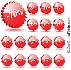 stella, scontare, vettore, numeri, marketing., promozione, tesserati magnetici, 3d