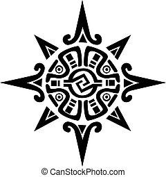 stella, sole, simbolo, mayan, incan, o