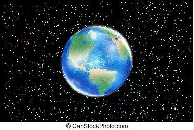 stella, spazio, globo, pianeta, fondo, terra