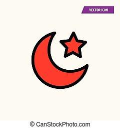 stella, turco, luna, bandiera, mezzaluna, icon., rosso