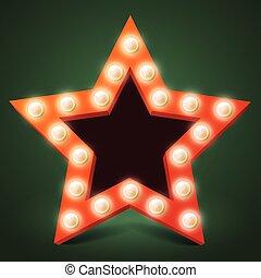 stella, verde scuro, retro, fondo, uggia, bulbo, rosso