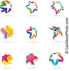 stella, vettore, icone, collezione