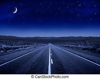 stellato, strada, notte