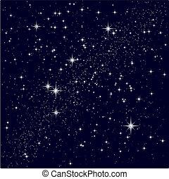 stellato, vettore, cielo, illustrazione
