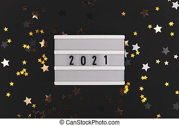 stelle, 2021, baluginante, nero, anno nuovo, fondo, -