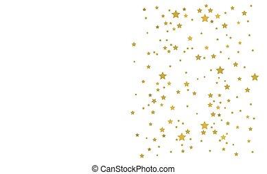 stelle, dorato, bianco, fondo.
