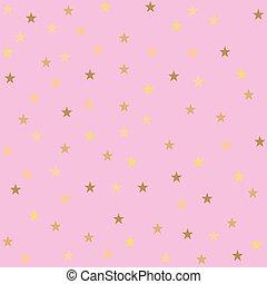 stelle, dorato, rosa