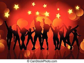 stelle, persone, ballo, silhouette, luci, bokeh, fondo, 1412