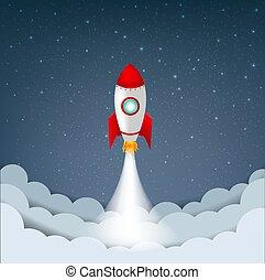 stelle, razzo, cielo, cartone animato, nuvola