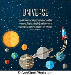 stelle, spazio, universo, sistema, vettore, solare, rocket., bandiera