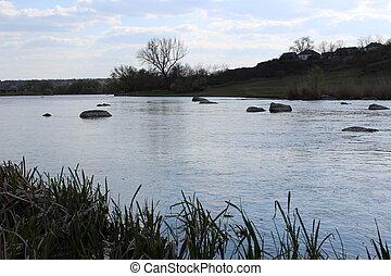 steppe., grande, natura, fiume, granito, stones.
