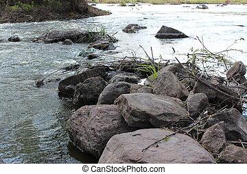steppe., natura, grande, fiume, stones., granito