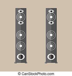 stereo, nero, altoparlanti