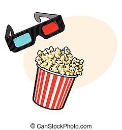 stereoscopic, cinema, -, popcorn, oggetti, 3d, occhiali