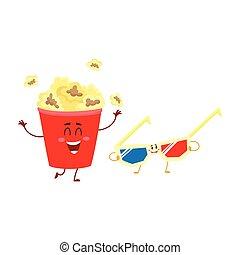 stereoscopic, umano, cinema, caratteri, facce, popcorn, 3d occhiali