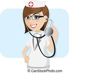 stetoscopio, cartone animato, dottore