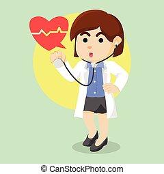 stetoscopio, femmina, presa a terra, dottore