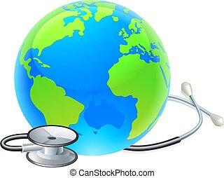 stetoscopio, globo, mondo, giorno, concetto, terra, salute