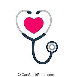 stetoscopio, icona, cuore