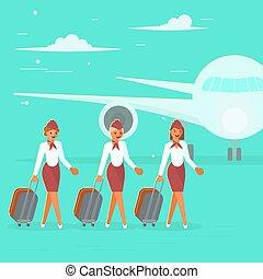 stewardesses, caratteri, valigia