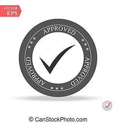 sticker., grunge, vendemmia, stamp., seal., nero, approved., segno, approvato, rotondo