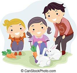 stickman, alimentazione, conigli, bambini