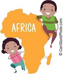 stickman, bambini, africa, illustrazione, continente