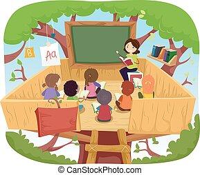stickman, bambini, albero, classe, casa