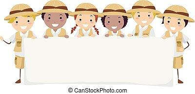 stickman, bambini, bandiera, esploratore, illustrazione