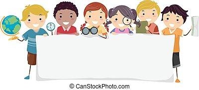 stickman, bambini, bandiera, geografia illustrazione