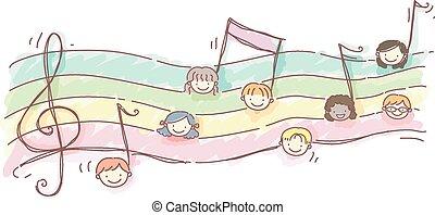 stickman, bambini, foglio musica