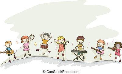 stickman, bambini, musica, gioco