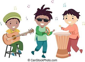 stickman, bambini, musica, illustrazione, reggae