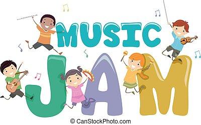 stickman, bambini, musica, marmellata, illustrazione