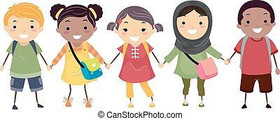 stickman, bambini scuola, diversità